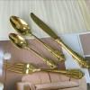 宫廷皇家宴会金色西餐刀叉 304不锈钢华丽复古浮雕高档餐具