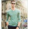 男士V领长袖休闲T恤 男士时尚秋季T恤 长袖T恤批发厂价供应