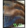 公司透气隔断木色铝管长条波浪铝通隔墙装饰40×80方通背景墙