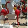 玻璃钢立体红色火烈鸟公园摆件