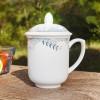 厂家批发定制酒店宾馆会议杯陶瓷纯白色茶杯带盖杯喝水杯子