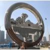 武汉广场不锈钢圆环假山雕塑 夜景LED灯圆形雕塑