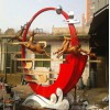 武汉不锈钢镜面月牙雕塑艺术 奔跑的鹿飞翔的鹤雕塑