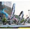晋中 城市鹿跳跃圆圈雕塑 中央标志性不锈钢艺术景观