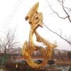 温州 城市景观不锈钢金色鱼雕塑 抽象镂空金鱼雕塑施工图