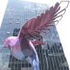 银川 金属镀彩鸽子雕塑 酒店几何翅膀摆件
